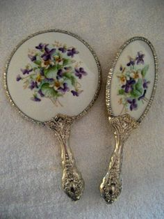 Antique Vanity Mirror Brush Set With Hand Painted Violets / Antique Peek