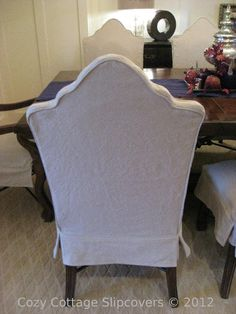 Cozy Cottage Slipcovers: Dining Room Transformation - tailored slipcovers over wood chairs Dining Room Chair Slipcovers, Dining Chair Seat Covers, Rustic Dining Chairs, Black Dining Room Chairs, Wood Chairs, Bag Chairs, Chair Cushions, Reupholster Furniture, Furniture Slipcovers