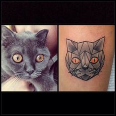 This geometric pet portrait. | 28 Classy Cat Tattoos Every Cat Lover Will Adore