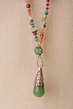 "Anne Vaughan Designs - Gentle Breeze 34-36"" Long Gemstone Layer Pendant Necklace, $144.00 (https://www.annevaughandesigns.com/gentle-breeze-long-gemstone-tibetan-focal-silver-gemtone-necklace/)"
