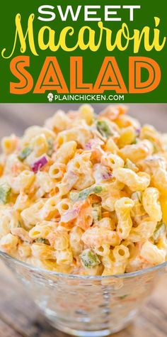 Sweet Macaroni Salad - seriously THE BEST macaroni salad EVER! I took this to a potluck and it was the first thing gone. Everyone asked for the recipe! Can make this ahead of time and refrigerate overnight. Elbow macaroni red onion green bell pepper c Sweet Pasta Salads, Pasta Salad Recipes, How To Make Salad, Food To Make, Best Macaroni Salad, Elbow Macaroni Recipes, Filipino Macaroni Salad, Macaroni And Cheese Salad Recipe, Best Mac Salad Recipe