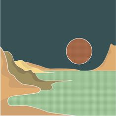 Illustration of a beach scene and a full moon. The artwork makes use of simple lines and geometric pattern. Did you know that sand dunes can give clues to human impact on the coast and they can harbor many historical secrets? Beach Scenes, Simple Lines, Full Moon, Vignettes, Coast, Landscape, Illustration, Artwork, Pattern