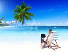 Businessman Working on a Tropical Beach
