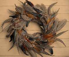 Feather Wreath: Rooster, Pheasant, and Peahen. $56.00, via Etsy.