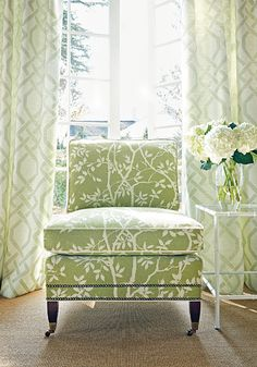 Chelsea Chair from Thibaut Fine Furniture in Sylvan Leaves woven fabric in Kiwi Living Room Green, Green Rooms, My Living Room, Living Room Decor, Dining Room, Interior Styling, Interior Decorating, Interior Design, Decorating Ideas