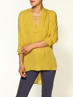 Piperlime | Silk Shirred Neckline Half Placket Blouse