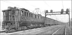 An express passenger train of the Pennsylvania Railroad drawn by a modern electric locomotive. This photograph was taken on the main line just west of Philadelphia.