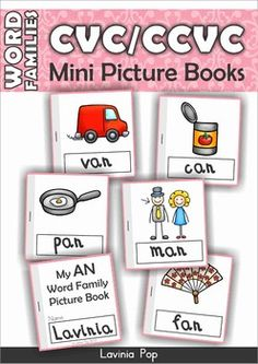 FREE+Word+Families+-+CVC+&+CCVC+Mini+Picture+Books+  Please+note!+This+unit+is+also+in+my+Word+Families+MEGA+BUNDLE+Part+1.+You+do+not+need+to+download+this+unit+if+you+have+previously+purchased+the+above+unit!  About+this+book: This+book+contains+booklet+templates+and+picture+cards+to+create+15+word+family+mini+picture+books.