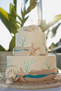 Celebrity Weddings: Danny Pintauro's serene beach wedding The Frosted Petticoat Beach Cakes, Beach Wedding Cakes, Beach Weddings, Beach Theme Cakes, Beach Theme Wedding Dresses, Nautical Wedding Cakes, Destination Weddings, Green Weddings, Romantic Weddings