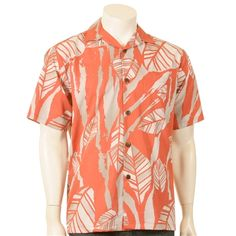 Line Leaf Stripe Pajama Collar  Men's Aloha Shirt $34.99