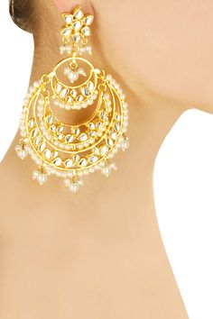 Gold finish three tier crescent earrings available only at Pernia's Pop-Up Shop.