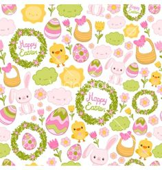 Happy easter seamless pattern vector by kostolom3000 on VectorStock®