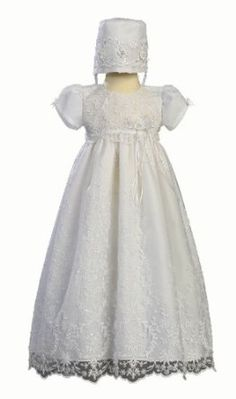 Embroidered Tulle Christening Baptism -Size M (6-12 Months) Swea Pea & Lilli. $97.95