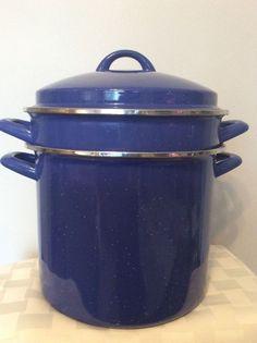 Blue Speckled Enamelware Spaghetti Pasta Cooker Strainer Pot W/ Lid 8 Qt