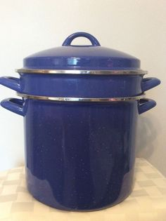 Blue Speckled Enamelware Spaghetti Pasta Cooker Strainer Pot W/ Lid 8 Qt