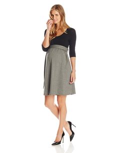 Maternal America Women's Maternity Front Tie Herringbone Dress >>> Find out more details by clicking the image : Fashion