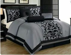 Gray Black Comforter Set + Curtain Set Queen Size 15 Piece 1 Queen Comforter: x 92 inch) 2 Pillow Shams: x 2 inch) 1 Bed Skirt: x 80 + 14 inch) Black Comforter Sets, Bed Comforter Sets, Black Bedding, Comforters, Gray Comforter, Rideaux Design, Bed In A Bag, King Sheet Sets, Luxury Bedding Sets