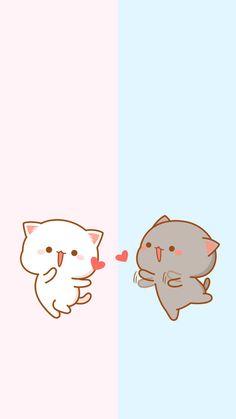 the yellow is anglina jolie and gray is brad pitt beautiful couple Cute Cartoon Images, Cute Love Cartoons, Cute Cartoon Wallpapers, Cat Wallpaper, Kawaii Wallpaper, Disney Wallpaper, Cute Kawaii Animals, Kawaii Cat, Chibi Cat