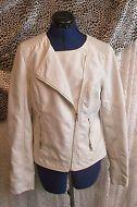 """Size 12 """"Tu"""" Label, Cream soft leather biker style jacket"""