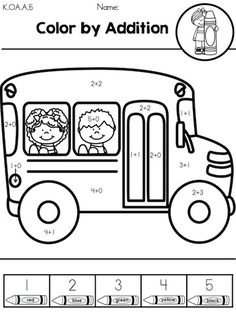 Color the school bus by Addition >> Part of the Back to School Kindergarten Math Worksheets packet by United Teaching