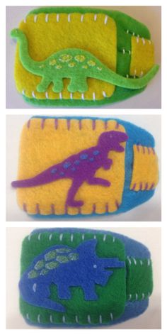 One felt dinosaur eye patch. The back of the patch is lined with flannel for added comfort. Styles available:    Slip-on glasses: slips easily