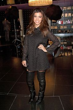 Kourtney Kardashian's Thigh High Boots -- Would you wear them?  With that dress I would!