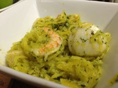 Shrimp, scallops and spaghetti squash tossed with homemade pesto.