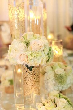 Elegant Wedding   Idea! Could use a paper doily to wrap mason jar too