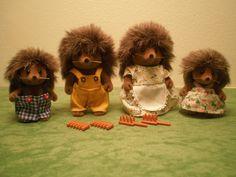 Vintage 80s Sylvanian Families figures - The Bramble Hedgehog Family