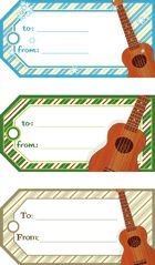 Ukulele Holiday Gift Tags.  Download, print, and cut.