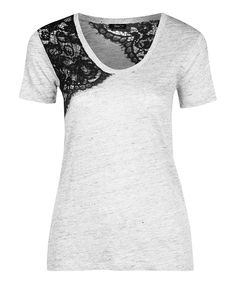 Look at this White & Black Lace Linen-Blend Scoop Neck Tee on #zulily today!