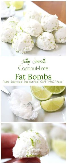 Silky Smooth Coconut-Lime Fat Bombs (Keto, GAPS, Paleo) These dairy-free and nut-free fat bombs are absolutely delicious with their sweet and slightly tart flavor, and silky smooth with the velvety coconut cream. They are keto friendly, and suitable for a Keto Fat, Low Carb Keto, Lchf, Low Fat Diets, High Fat Diet, High Fat Keto Foods, Diet Foods, Low Carb Desserts, Dairy Free