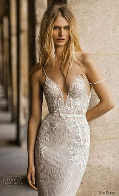 gali karten 2019 bridal spaghetti strap deep plunging sweetheart neckline heavily embellished bodice fit and flare wedding dress backless scoop back medium train zv -- Gali Karten 2019 Wedding Dresses Affordable Wedding Dresses, Designer Wedding Dresses, Bridal Dresses, Bridal Collection, Dress Collection, Beaded Wedding Gowns, Fit And Flare Wedding Dress, Dress Wedding, Bridal Style