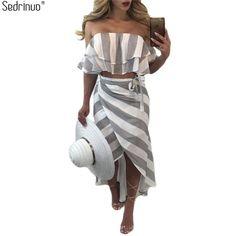 Sedrinuo Cascading Ruffle Striped off Shoulder Sleeveless Beach Wear Two  Piece Summer Dress 2018 Casual Bodycon da9bbd0a2