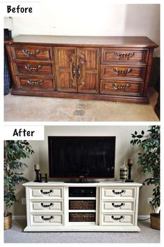 """Dresser to Entertainment Center.  Extra long dresser (approx. 75"""") repurposed into an entertainment center. Drawers provide ample storage for DVD's & Video Games. Doors were removed and shelves were built to house components and baskets for easy storage. Painted with ASCP in Old White with light distressing and clear wax.  Work & Photo credit: /lah5807/"""
