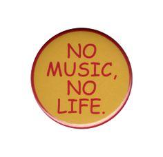 No Music No Life Pinback Badge Button Pin Rock Punk Band Music Guitar Drums Bass