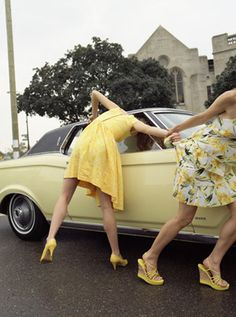 girlfriends ... the crazy things we did!! Ha ha!  This reminds me of my friend's old Volvo that she had in college.  The passenger side door wouldn't open, so I'd have to dive in through the window.  Hard to do in a dress!