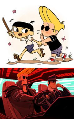 Samurai Jack and Johnny Bravo crossover Comic Anime, Cartoon As Anime, Cartoon Shows, Cartoon Art, Anime Art, Cartoon Memes, Cartoon Drawings, Samurai Jack, Samurai Bravo