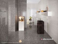 Marvel Gems: floor and wall tiles inspired by Venetian Terrazzo, Atlas Concorde Grey Bathroom Floor, White Bathroom Tiles, White Tiles, Terrazzo, Wall And Floor Tiles, Wall Tiles, Concorde, Marvel Gems, Diy Home