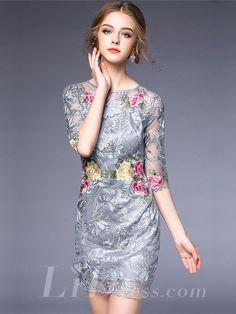 Spring 2016 Half Sleeves Floral Short Dress