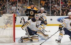 Enroth in goal against the Bruins