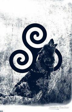 Triskele and Wolf by Jessica Becker Derek Teen Wolf, Stiles Teen Wolf, Teen Wolf Dylan, Arte Teen Wolf, Teen Wolf Art, Tatuagem Teen Wolf, Teen Wolf Tattoo, Wolf Tattoos, Tenn Wolf