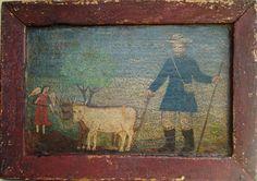 """San Isidro Labrador"" colonial venezolano, Edo. Mérida, O/tabla, med. 27X19 cms."