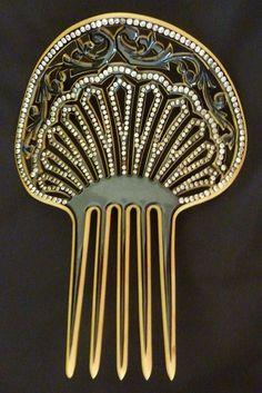 Vintage Edwardian Celluloid Rhinestone Hair Comb via rubylane.com/.