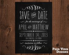 Chalkboard Save the Date  Wedding Announcement - Chalk - Printable & Personalized on Etsy, 136,71 kr