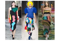 Pop Art, circle motifs, bright colours and bold intersecting stripes