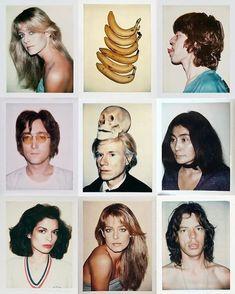Polaroid series - Farrah Fawcett, Mick Jagger, John Lennon, Andy Warhol, Yoko Ono and Bianca Jagger. Jasper Johns, Bianca Jagger, Mick Jagger, John Lennon, Art Marilyn Monroe, The Velvet Underground, Photo Polaroid, Polaroid Collage, Polaroid Pictures