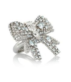 Silver-plated Swarovski Crystal Bow Ring