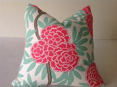 Pillows,  Throw Pillows,  Pink  Pillows, High End   Pillows, Designer Fabric Floral Pillow Cover