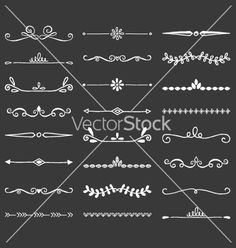 Hand drawn dividers decorative borders vector - by gulduk on VectorStock®